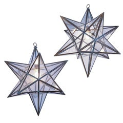 Two Voluminous Glass Star Pendants