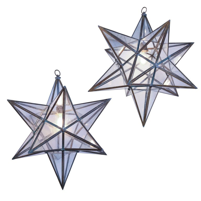 Two Large Glass Panelled Star Lanterns For Sale At 1stdibs