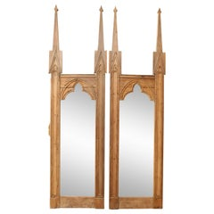 Pair of 19th Century French Stripped Pine Mirrors