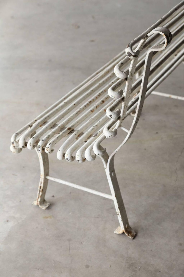 Long French Iron Bench For Sale 3