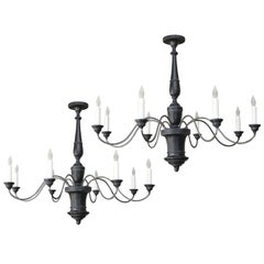 Pair of Italian Ebonized Wood and Iron Chandeliers