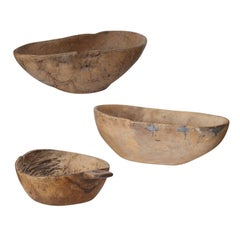 Set of Three Swedish Root Wood Bowls