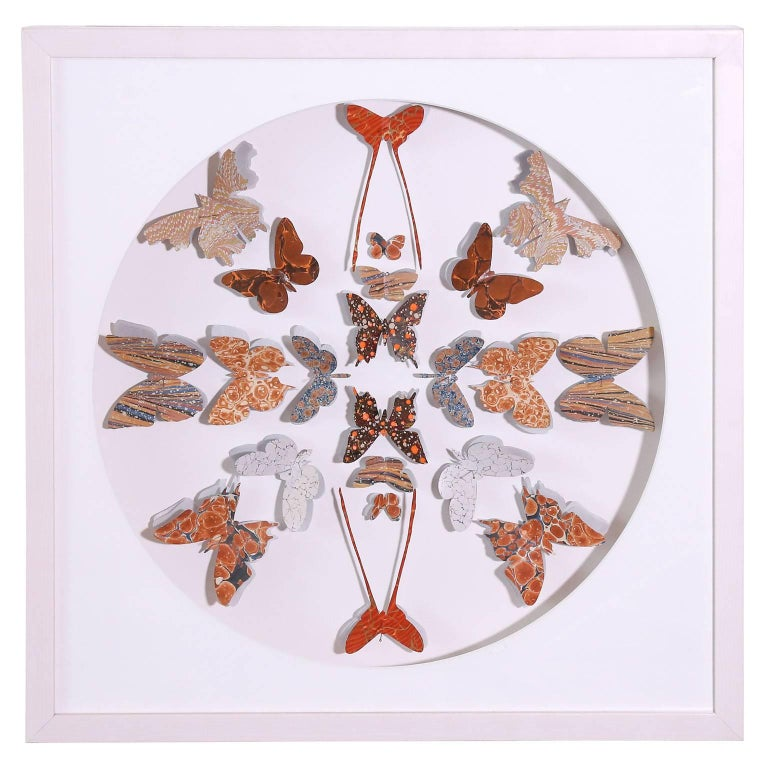 Marbled end paper of various designs and colors, from antique books, cut into butterfly shapes and pinned in a circular formation within four framed shadowboxes. Frames are white-washed maple.  Three sold - remaining butterfly box may be seen as