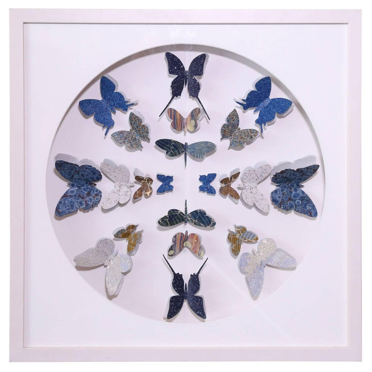 Hand-Painted Antique Marbled End Paper Butterflies For Sale