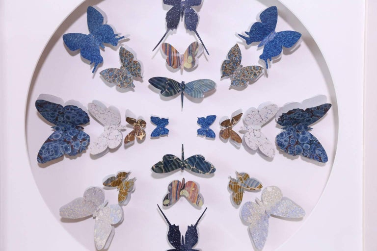 Antique Marbled End Paper Butterflies In Excellent Condition For Sale In Houston, TX