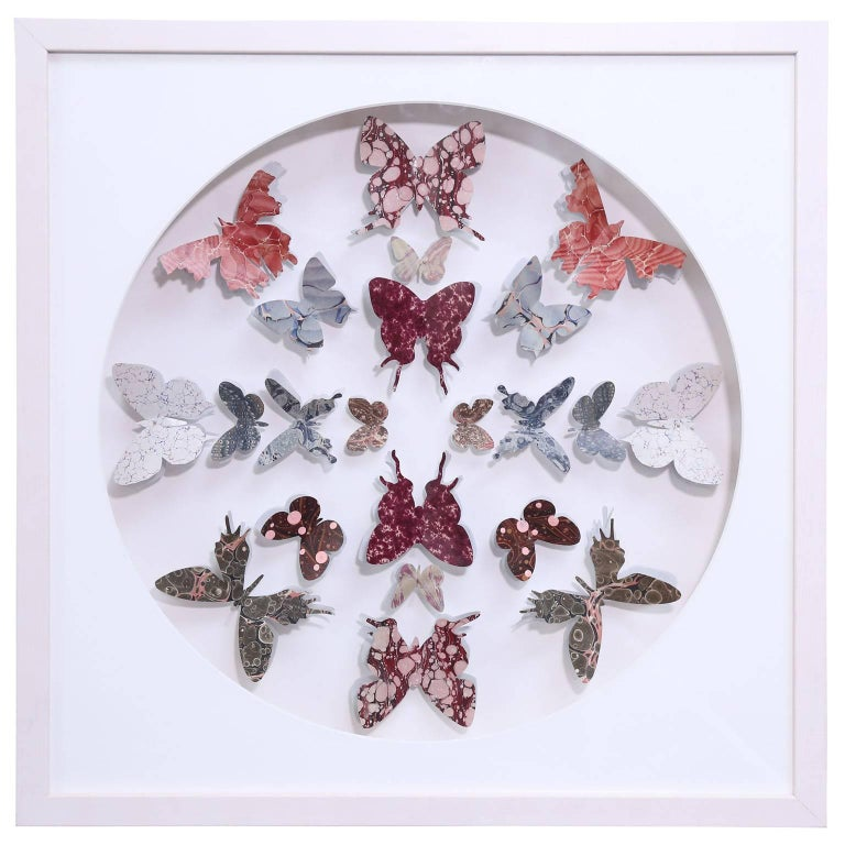 Antique Marbled End Paper Butterflies For Sale 1
