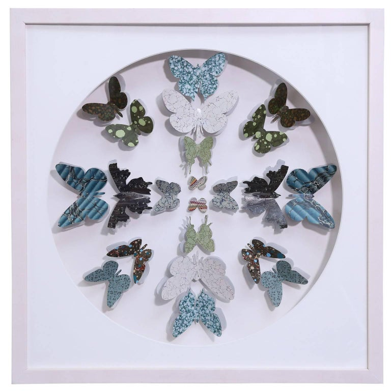 Antique Marbled End Paper Butterflies For Sale 3