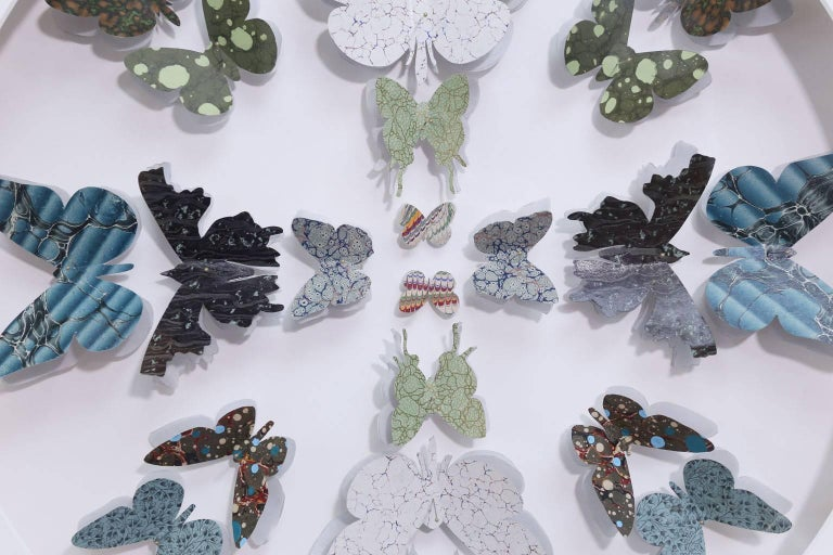 Antique Marbled End Paper Butterflies For Sale 4