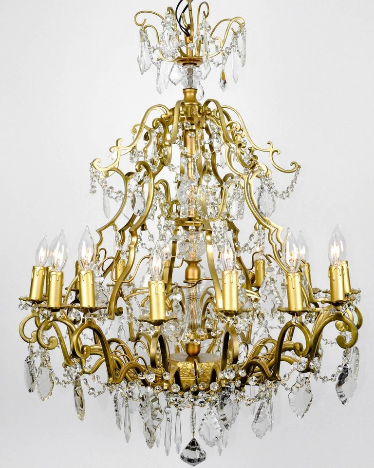Crystal Chandelier Sale: Vintage French Cut Crystal/Brass Frame Sixteen Arms