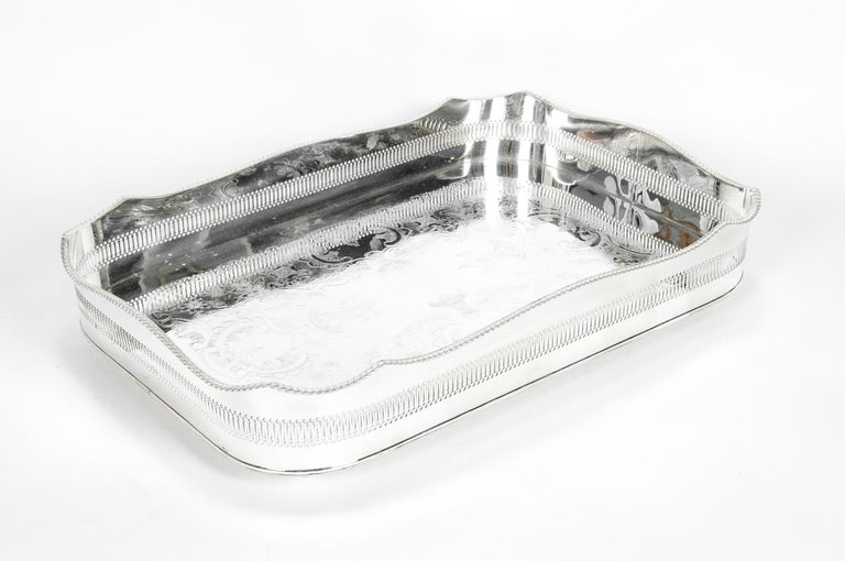 20th Century English Silver Plated High Bordered Gallery Barware Tray For Sale