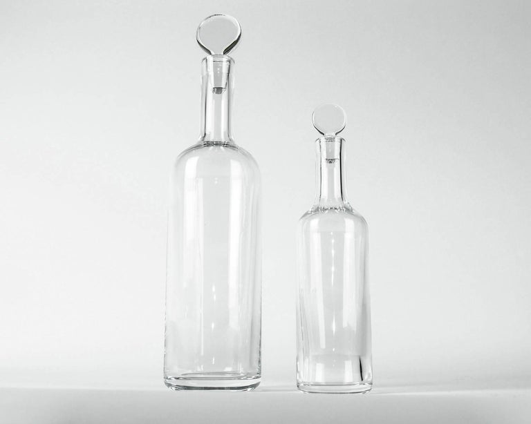 French Pair of Baccarat Crystal Art Deco Style Drinks Decanters For Sale