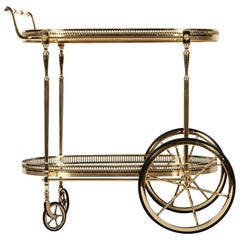 French Vintage Solid Brass Wheeled Two-Tier Bar Cart