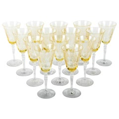 Vintage Set of 12 Yellow Crystal Wine or Water Glasses