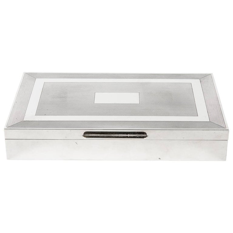 Midcentury Art Deco Sterling Silver Box with Wood Interior