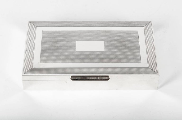 Midcentury Art Deco Sterling Silver Box with Wood Interior In Excellent Condition In Hudson, NY