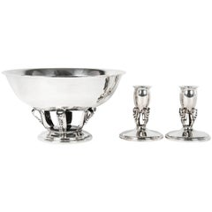 Sterling Silver Mid-Century Footed Center Piece with Two Candlesticks .