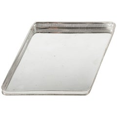 Vintage English Geometric Silver Plated Barware Tray .