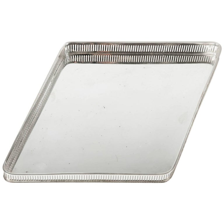 Vintage English Geometric Silver Plated Barware Tray . For Sale