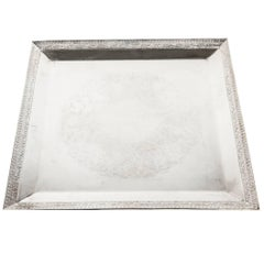 English Sheffield Square Shape Silver Plate Barware / Serving Tray