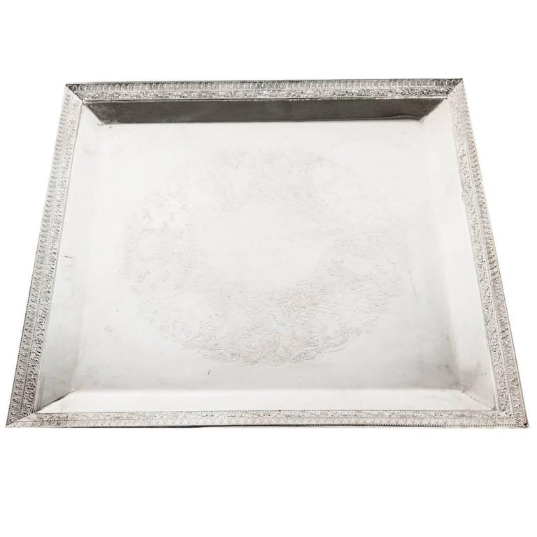 English Sheffield Square Shape Silver Plate Barware / Serving Tray For Sale