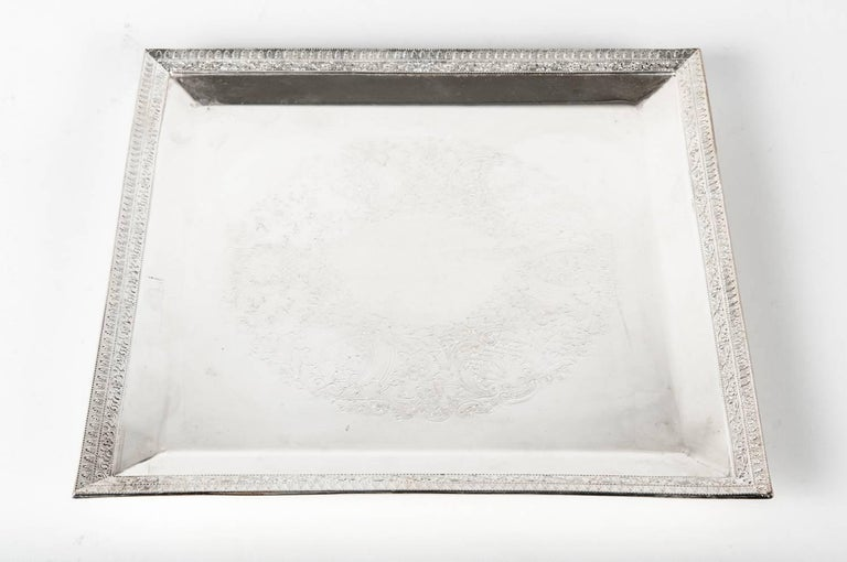 Edwardian English Sheffield Square Shape Silver Plate Barware / Serving Tray For Sale