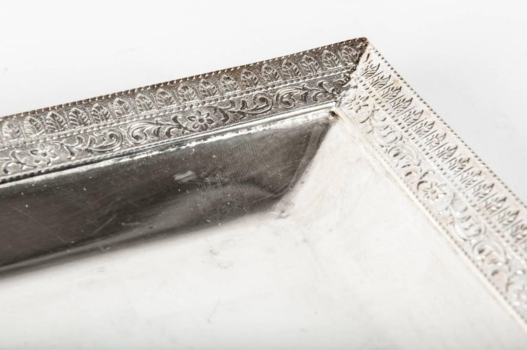 English Sheffield Square Shape Silver Plate Barware / Serving Tray For Sale 1