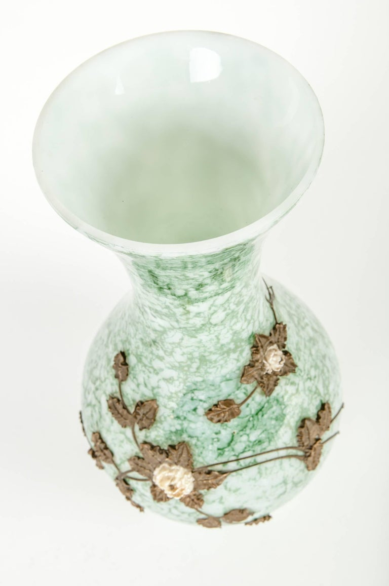 Early 20th Century Antique French Glazed with Inlaid Brass Flower Design Vase