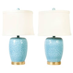 Contemporary Powdered  Blue Jar Table / Task Lamps with Gilt Brass Base