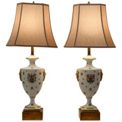Antique Pair of Porcelain European Table Lamps