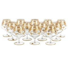 Murano Crystal Set of 12 Cognac / Snifter with 24-Karat Gold Design