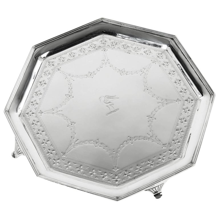 Vintage English Silver Plate Octagonal Footed Tray For Sale