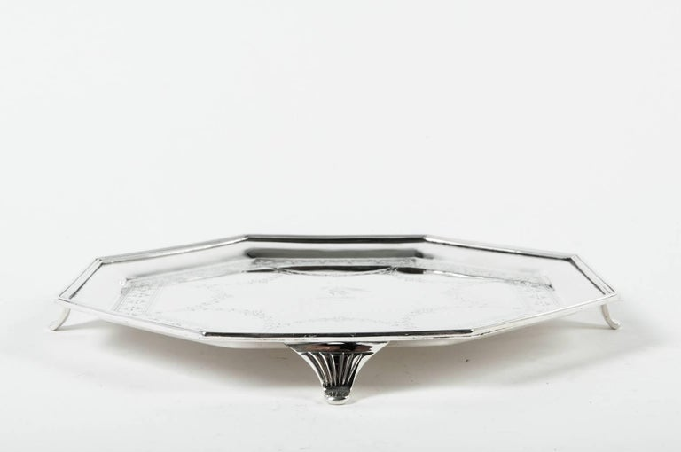 Early 20th Century Vintage English Silver Plate Octagonal Footed Tray For Sale