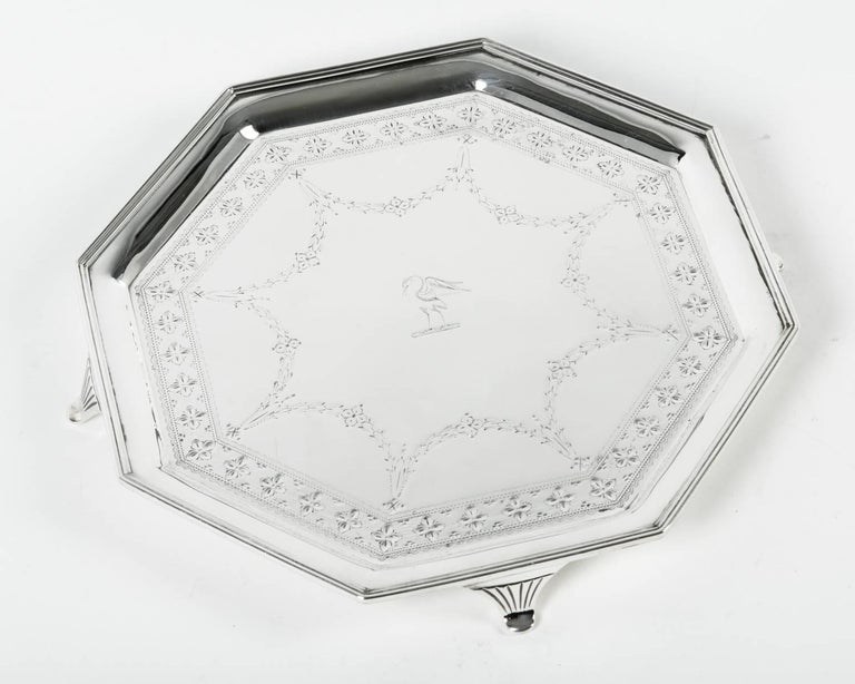 Vintage English Silver Plate Octagonal Footed Tray For Sale 1
