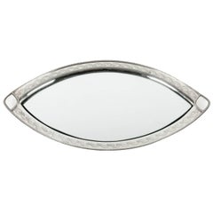 Antique Footed English Silver Plate Oval Tray with Mirror Insert