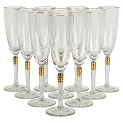 Vintage Crystal with Gold Design Champagne Flute Set of 12