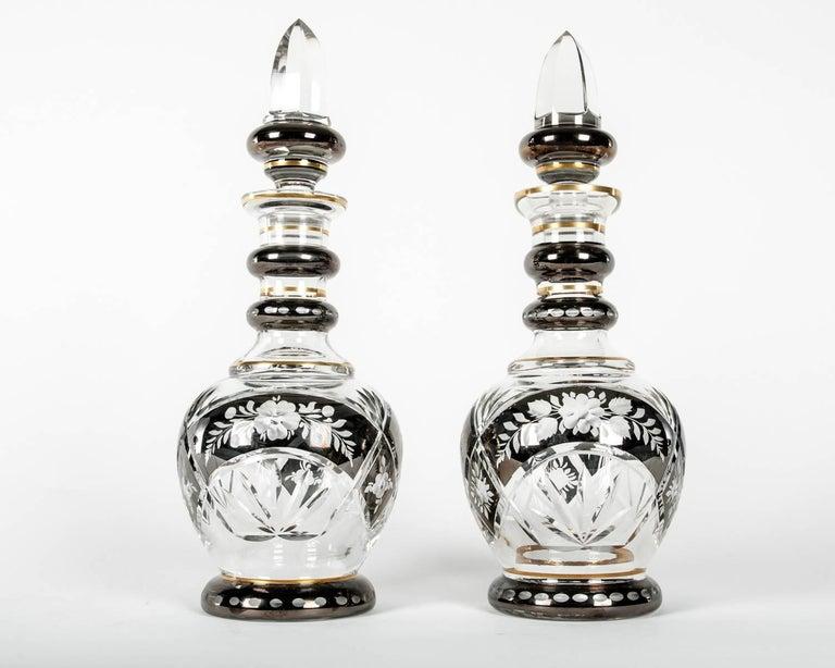 Vintage Pair of Cut Crystal Barware Drinks Decanter Set For Sale 2