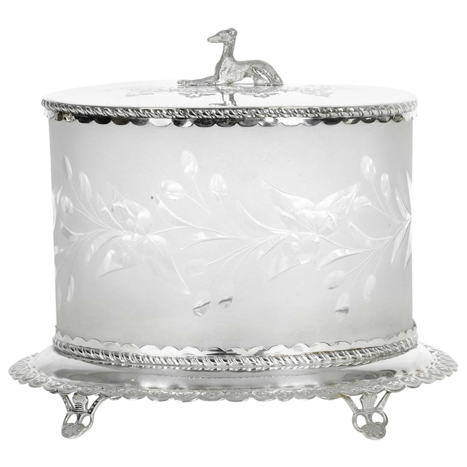 Antique English Oval Silver Plate / Cut Crystal Ice Bucket