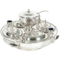 English Very Large Silver Plate Revolving Center Table Super Dish .
