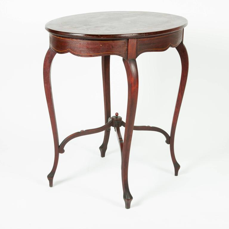 French Antique Inlaid Mahogany End Table For