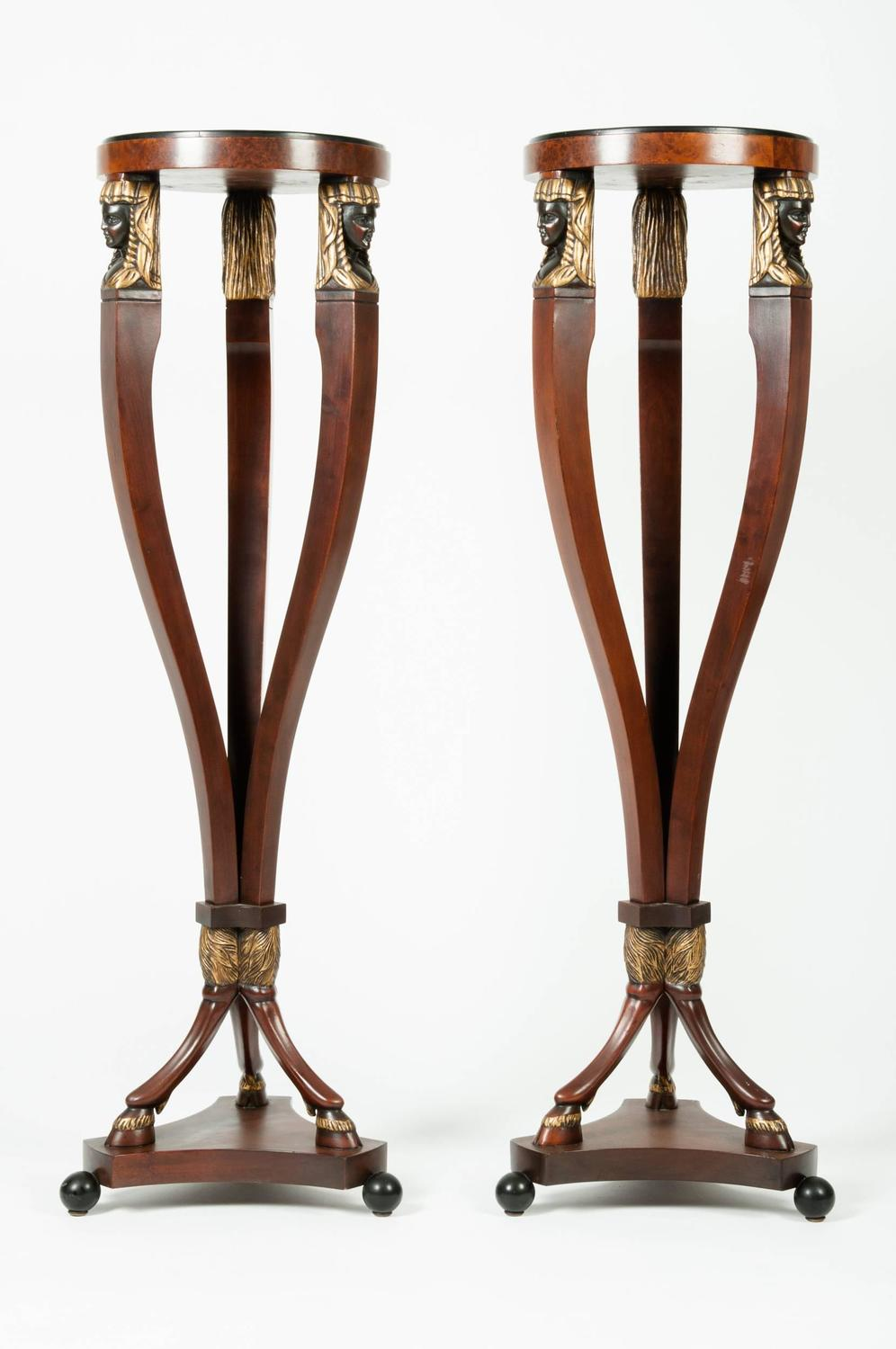 Vintage Pair of Tall Pedestal Tables at 1stdibs