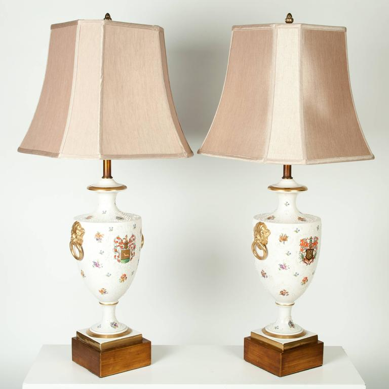 Paris Porcelain Hand Decorated Vase Fitted For Lamp Pia: Antique Pair Of Porcelain European Lamps At 1stdibs