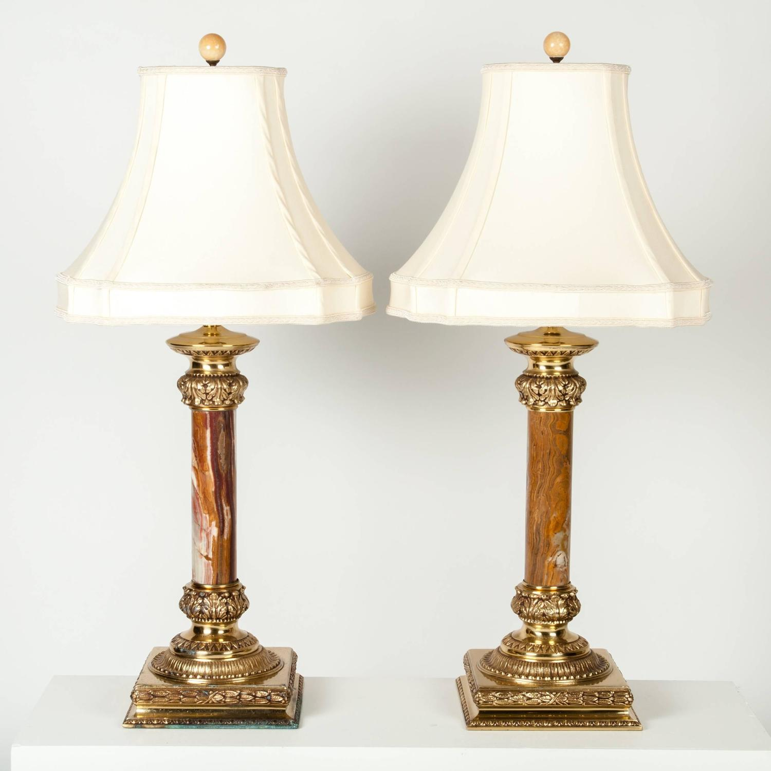 Mid century ginger jar lamp pair at 1stdibs - Antique Pair Of Jade Lamps With Solid Brass Base For Sale