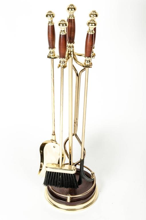 Vintage Fire Tools Set With Wood Handle At 1stdibs