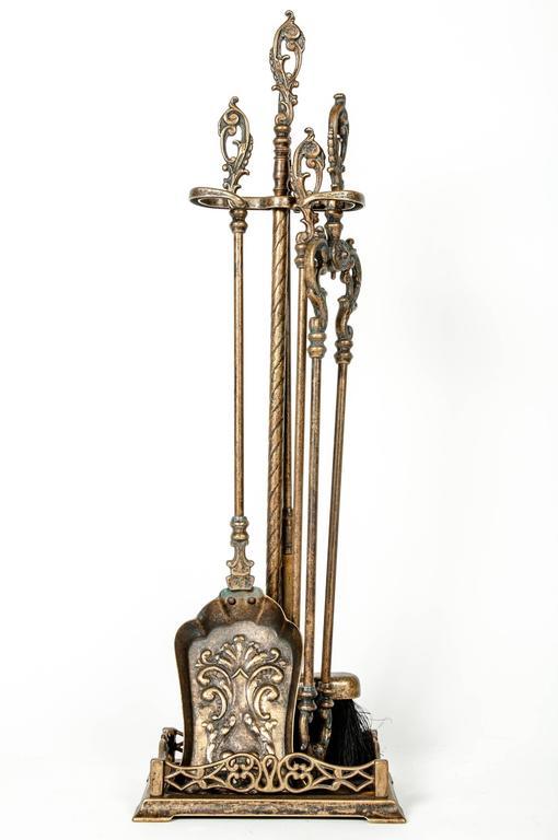 Vintage Brass Fire Tool Set at 1stdibs