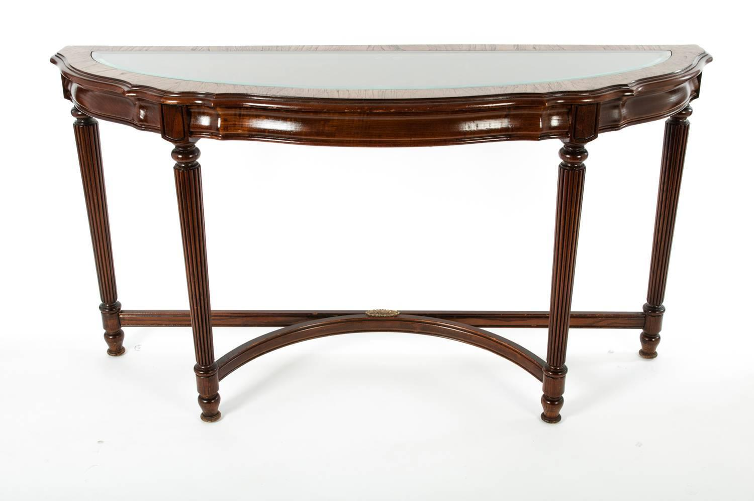 Vintage glass top demilune console table for sale at 1stdibs for 52 glass table top
