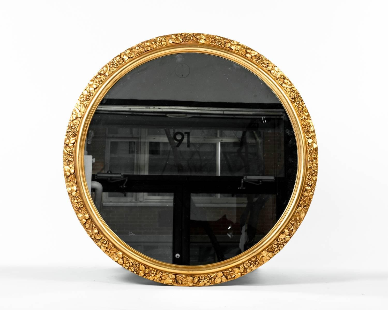 Vintage round wooden frame gilded wall mirror for sale at for How to make a round frame for mirror