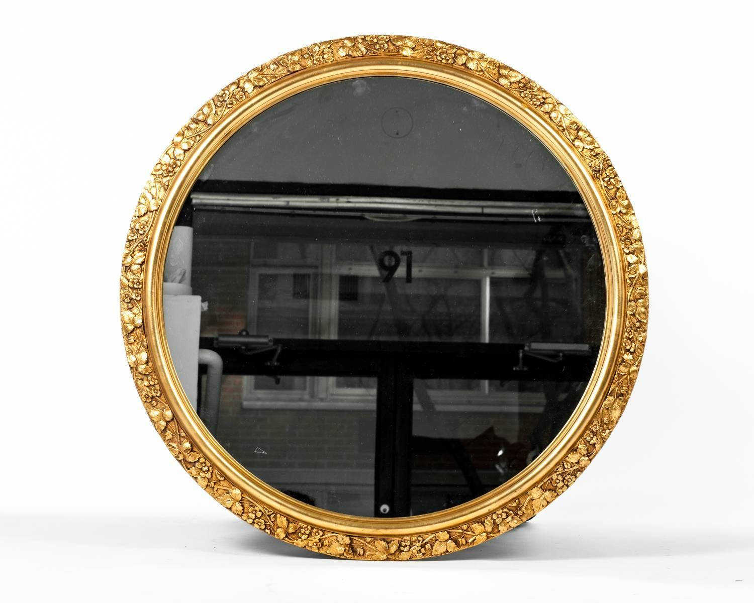 Vintage Round Wooden Frame Gilded Wall Mirror For Sale At