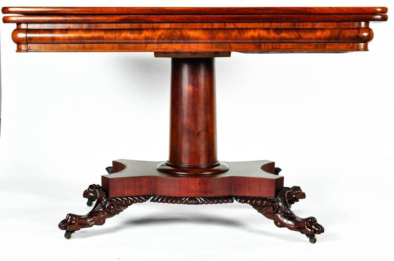 Antique European Large Folding Table With Claw Feet