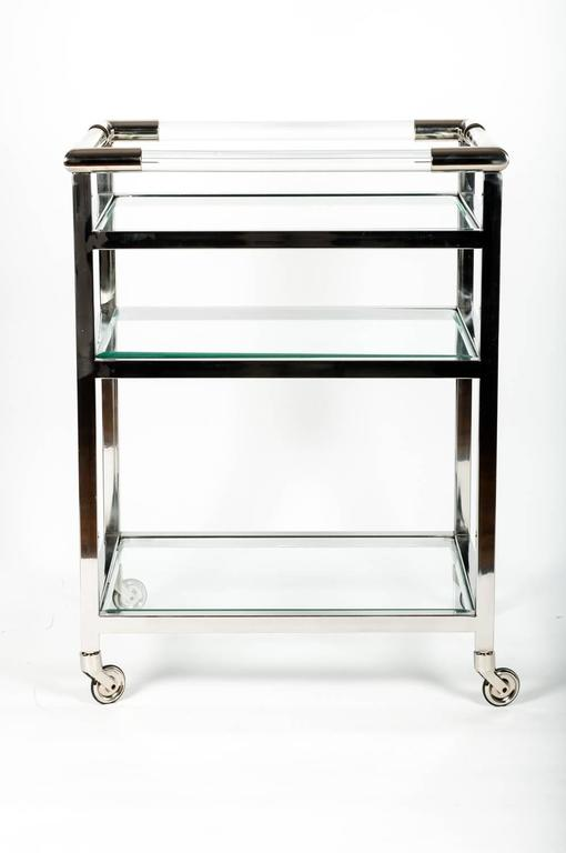 mid century modern wheeled bar cart with glass shelves at. Black Bedroom Furniture Sets. Home Design Ideas