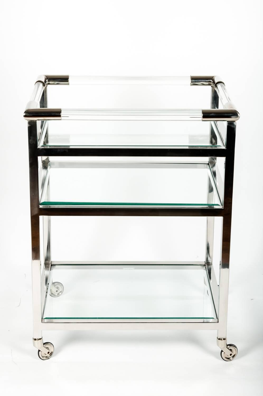 mid century modern wheeled bar cart with glass shelves for. Black Bedroom Furniture Sets. Home Design Ideas